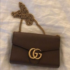 f5103317278 Gucci Bags - GUCCI Calfskin GG Marmont Chain Wallet Nut Brown